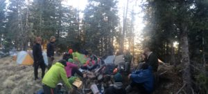 We had a huge group of hikertrash for the night right below the summit and out of the raging CDT wind.