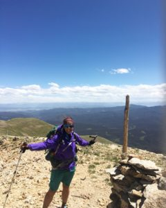 Windy on top of Parkview Mountain, elev. 12,300 ft.