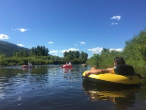 Floating the Yampa River in Steamboat Springs, CO, thanks to the generosity of Trail Angel Pink!
