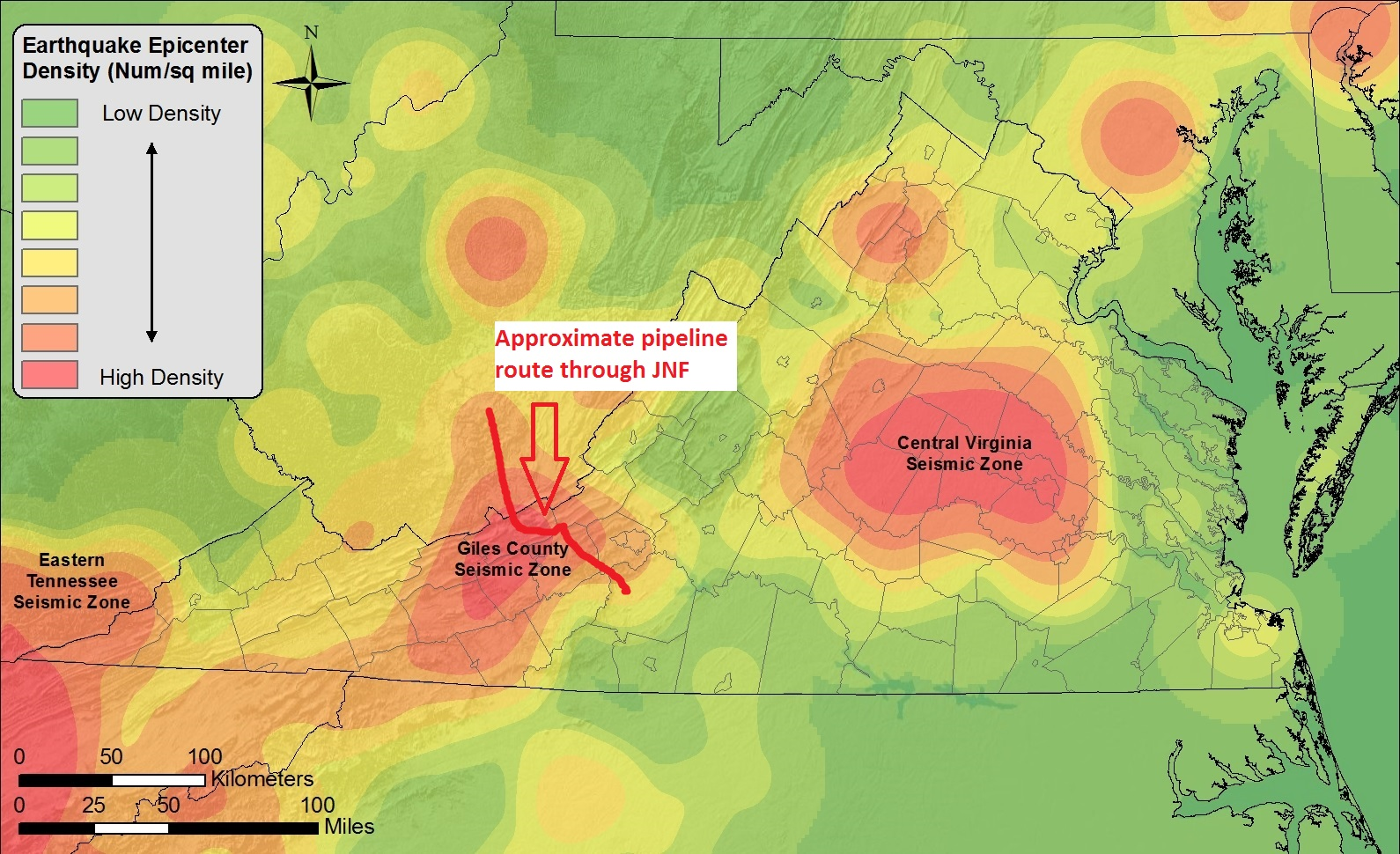 Virginia Seismic Zone and Proposed Mountain Valley Pipeline route