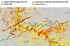Visibility Study on the Appalachian Trail for the MVP. Red = up to 15.6 miles visible; yellow = a mile or less. Black = pipeline route Green = Appalachian Trail