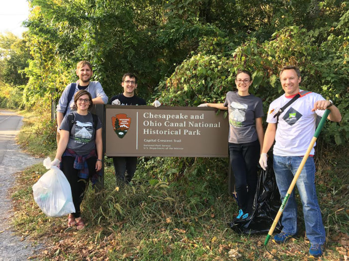 Volunteers helping to keep our trails clean! PC: Rails to Trails Conservancy