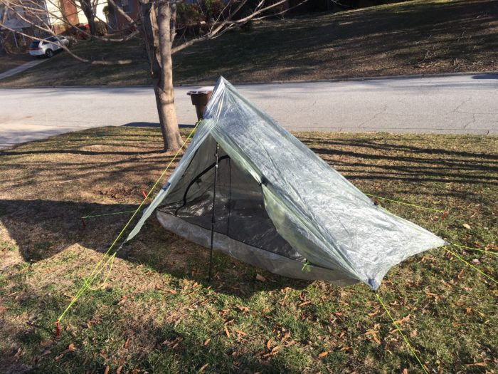 The Altaplex in the front yard... I pitched it every day for a week until I felt I could set it up in dark and or in the rain