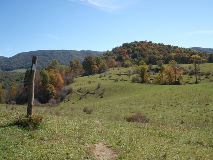 Appalachian trail through pastureland in fall