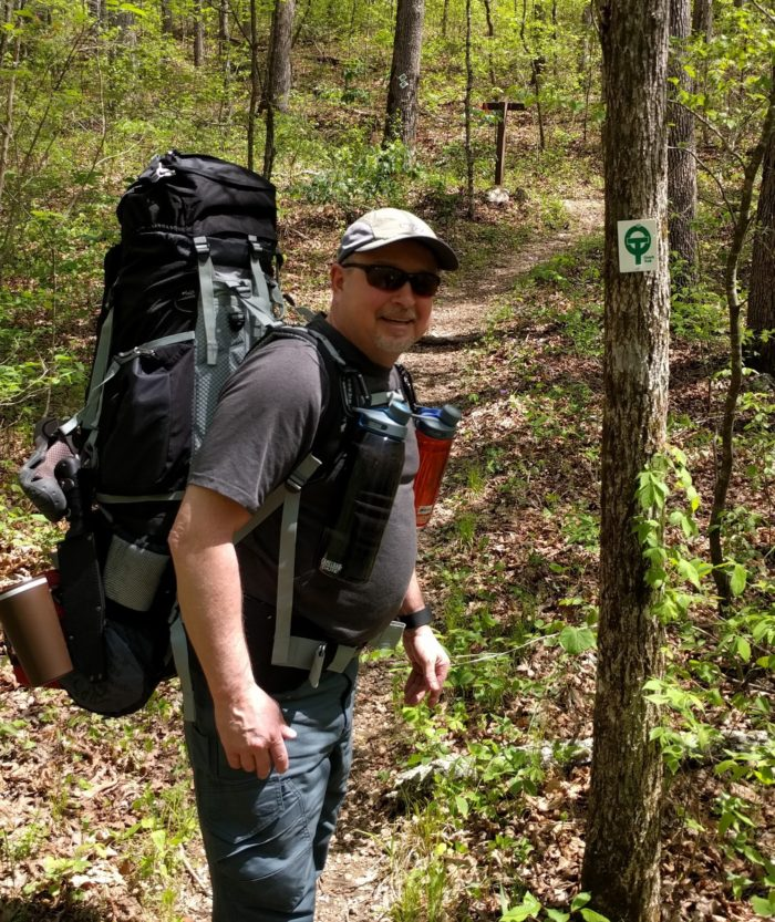 My first backpacking trip in 2015. Both body and pack weight 20 lbs heavier.