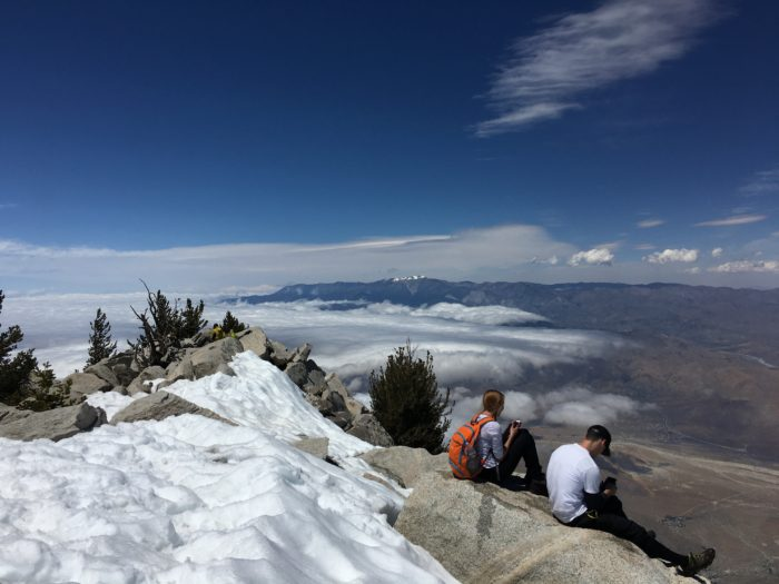 Finally at the top of San Jacinto, just in time to run down to avoid a storm.