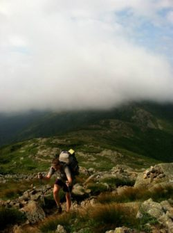 image of hiker in the white mountains, new hampshire