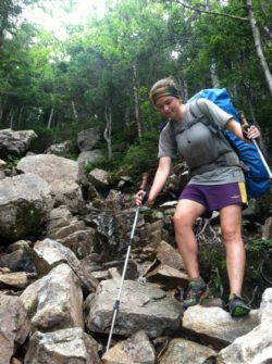 image of thru-hiker hiking the Appalachian Trail in the White Mountains, New Hampshire