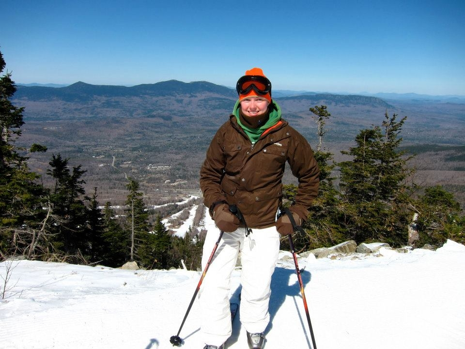 photo of woman skiing Sugarloaf Mountain in Maine