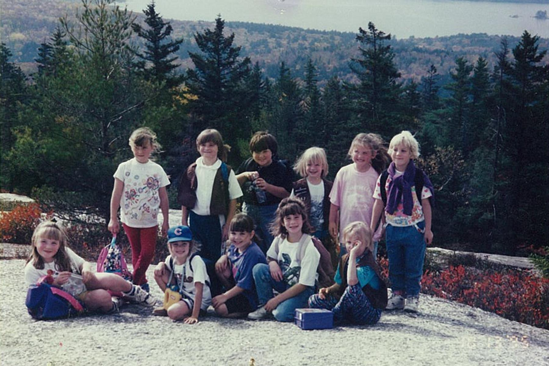 a photo of Girl Scouts doing a hike up a mountain in 1995