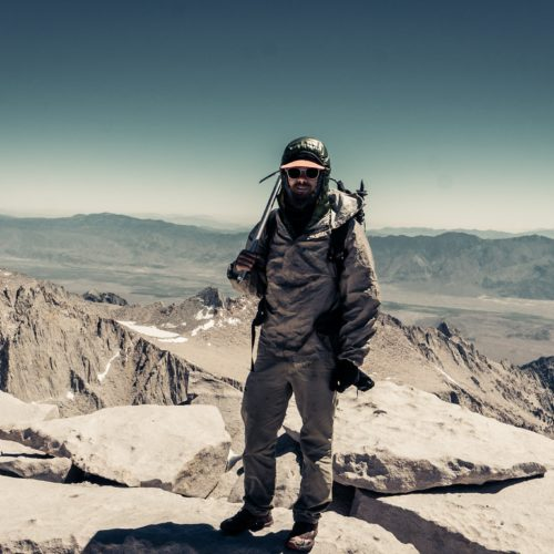 Wearing Frogg Toggs Ultra-Lite 2 atop Mount Whitney