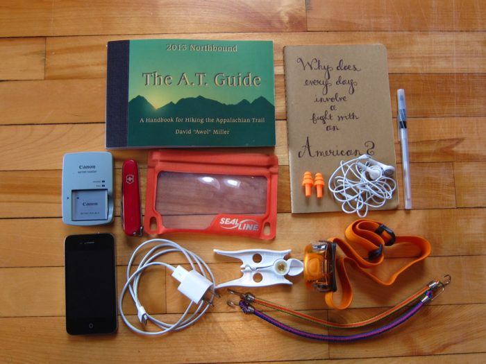 photo of appalachian trail gear and phone used for blogging