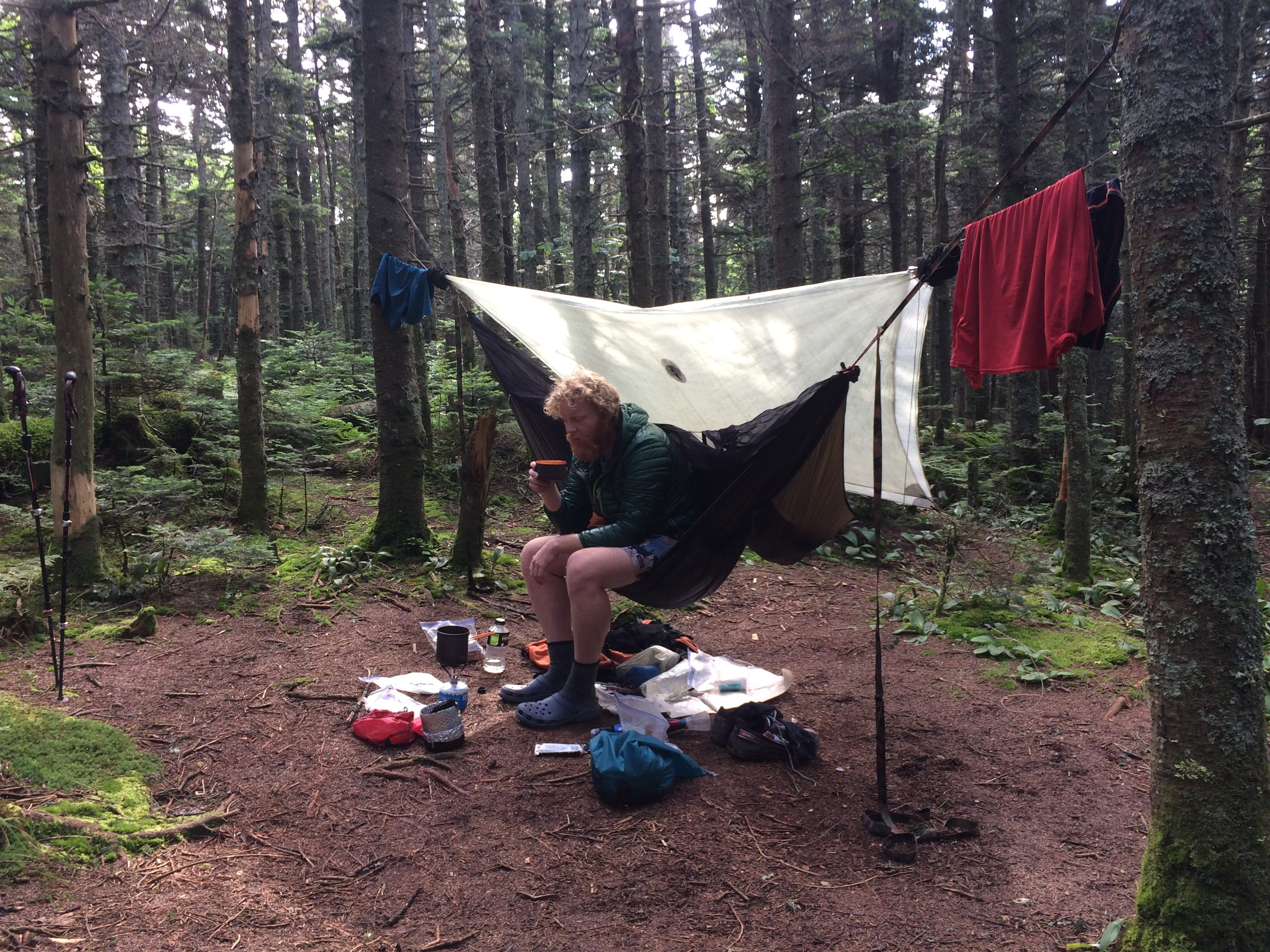 certainly not least you stay drier in a hammock  this was my experience but being able to get to camp and set the tarp up first meant i could then take my     thru hiking the appalachian trail with a hammock   the trek  rh   thetrek co