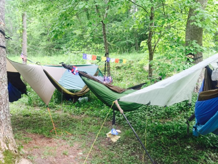 Multiple Hammocks Set Up At U201cThe Captainu0027su201d, North Of Pearisburg, VA, On  The Appalachian Trail In June, 2016. Far Left, Center, And Far Right Are  Blackbird ...