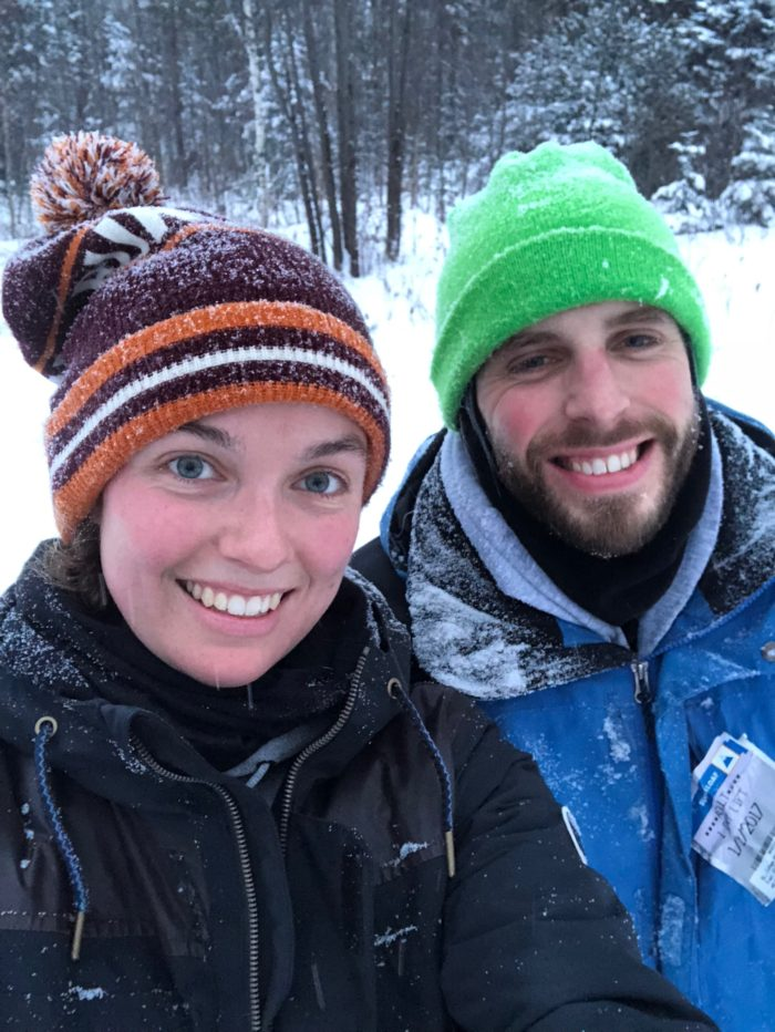 man and woman snowshoeing. thru-hike