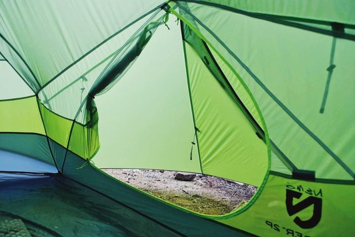 The tent has two side doors which make getting in and out of the tent easy. The vestibule space created when the fly is on is 23 inches from the side door ... & Gear Review: NEMO Dagger Two-Person Tent - The Trek