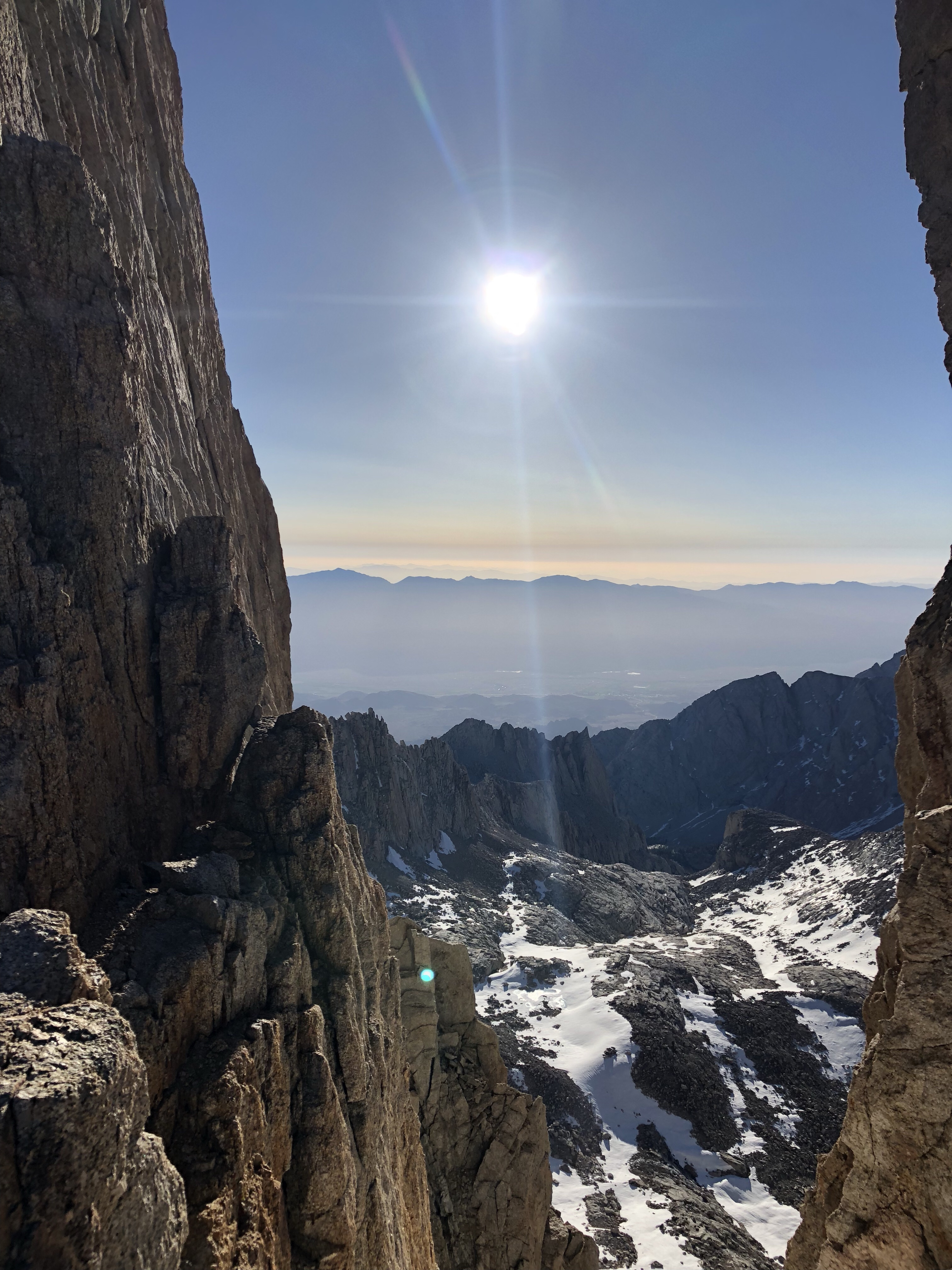 a photo going down Mt. Whitney on Mt. Muir