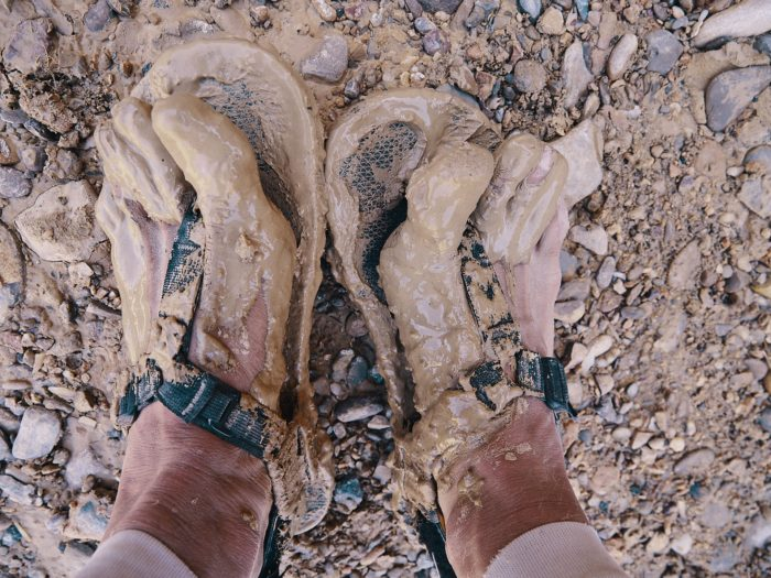 sandals, bardenas reales desert, spain