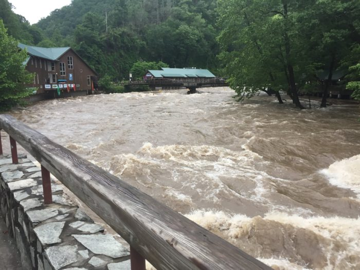 high, raging waters on the Nantahalla River are muddy