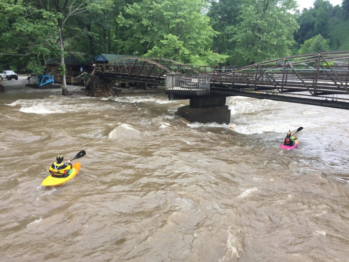 Kayakers at NOC in the turbid water