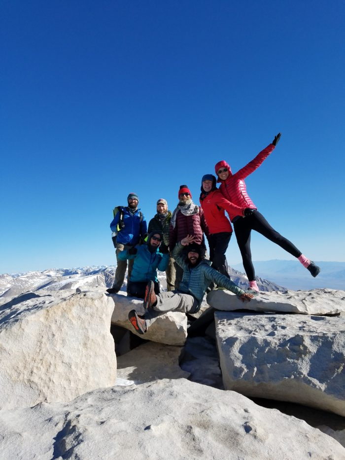 hikers on whitney summit
