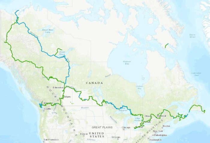 Map of the world's longest trail, the Great Trail