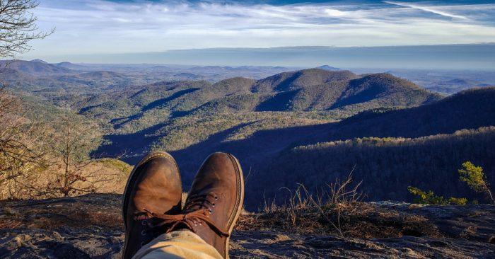 Feet up at Preachers Rock