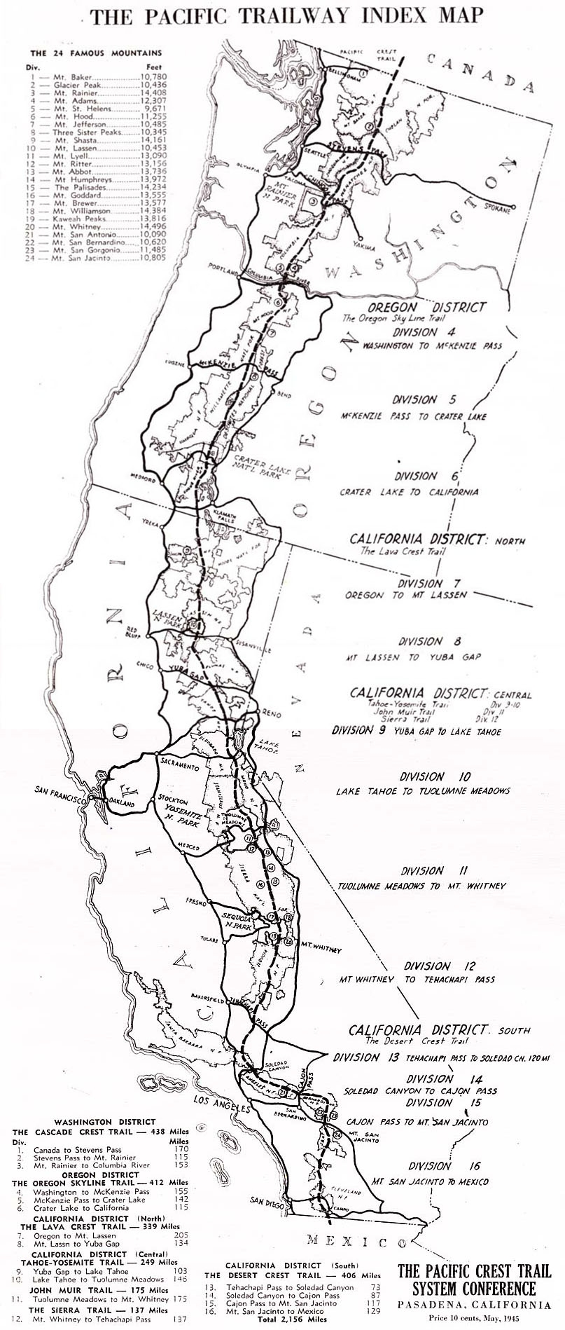 1945 Map of the Pacific Crest Trail found in Clinton C. Clarke's book, Pacific Crest Trailway
