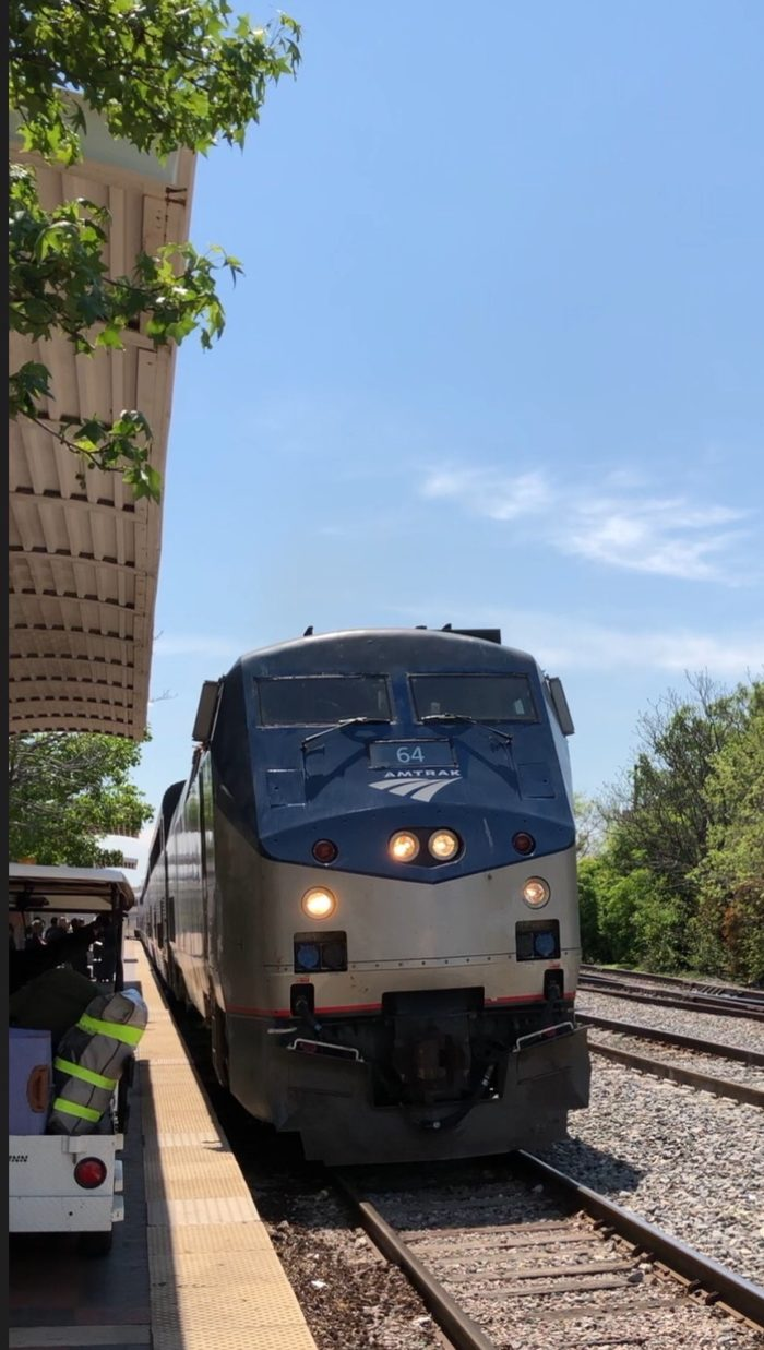 Amtrak train arriving at Union Station in Dallas, TX.