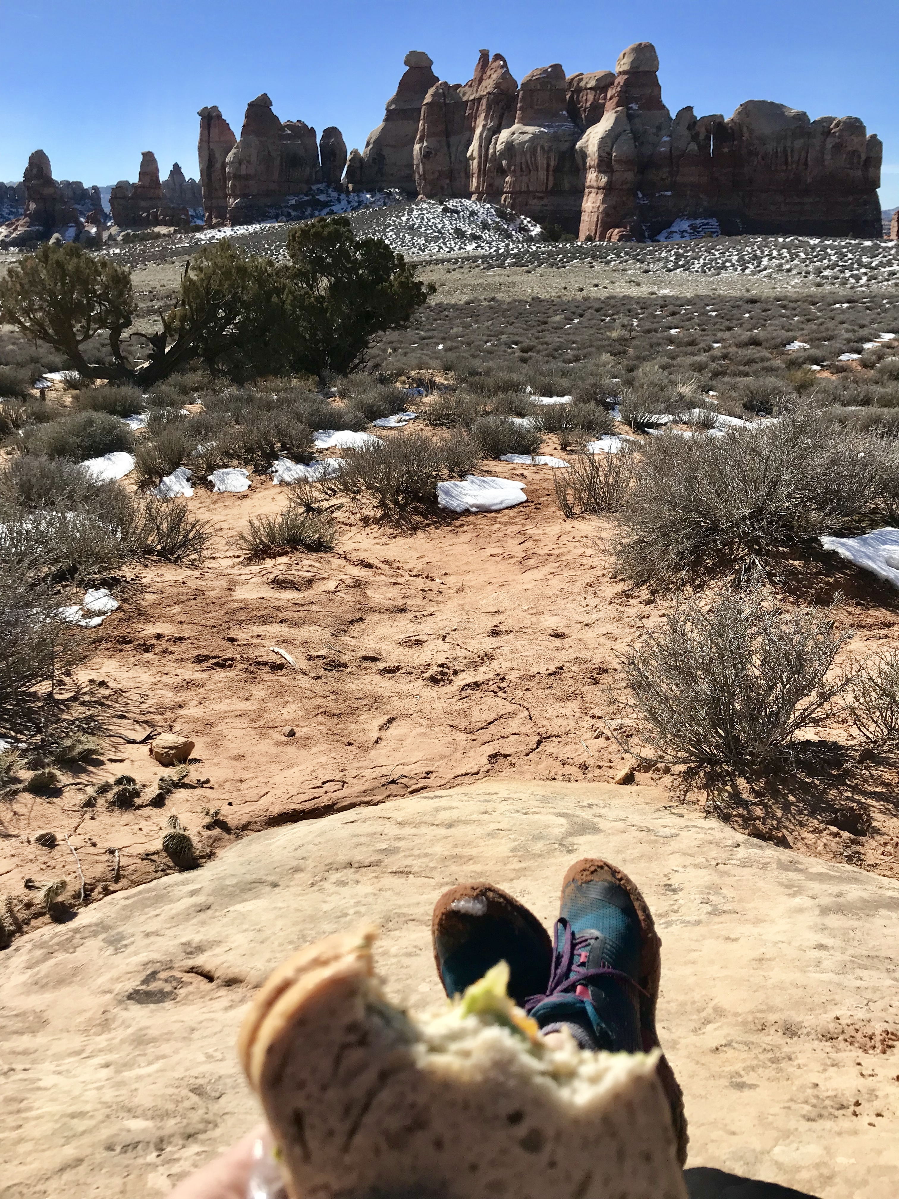 0d26141061472 Lunch with muddy shoes and a fabulous view in Canyonlands National Park s  Needles District. Notice how the mud guard on the toe is preventing the mud  from ...