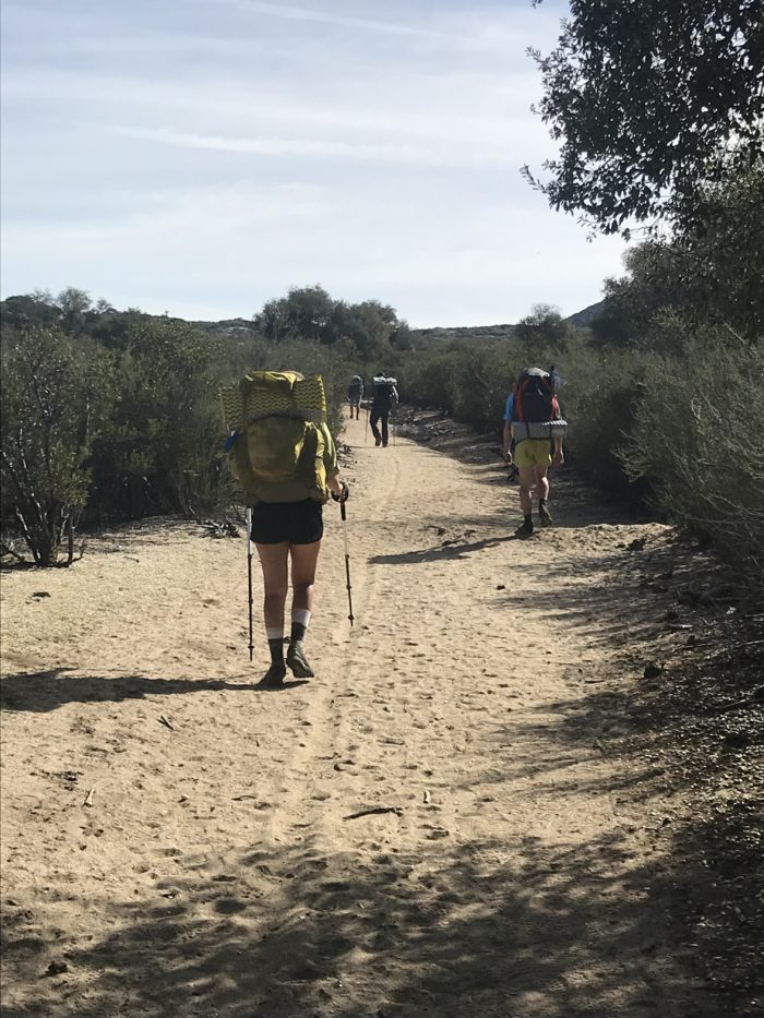 Hikers leaving Lake Morena Camp ground. Pacific Crest Trail thru-hike week 1.