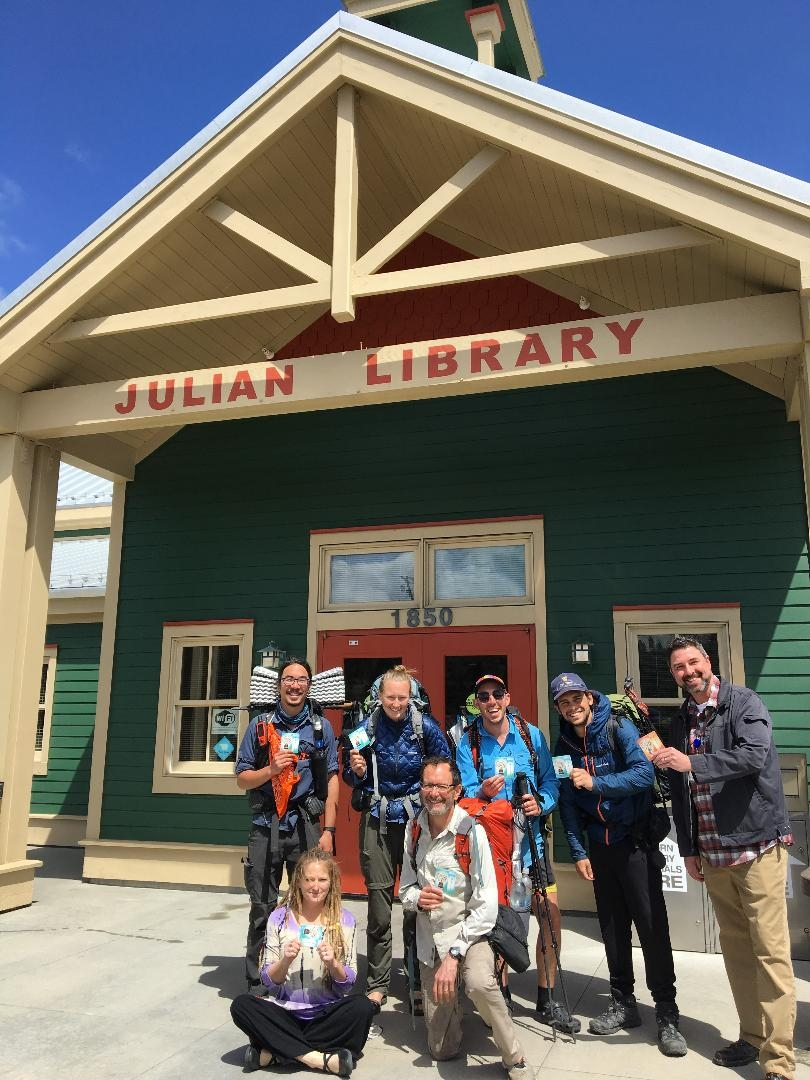 Hikers outside of the Julian Library. Pacific Crest Trail thru-hike week 1.