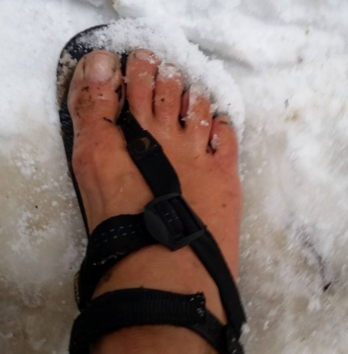 david valenzuela hiker snow sandals