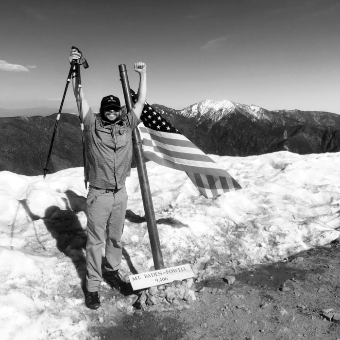 Picture of thru-hiker Benjamin Martin at the summit of Mt. Baden-Powell