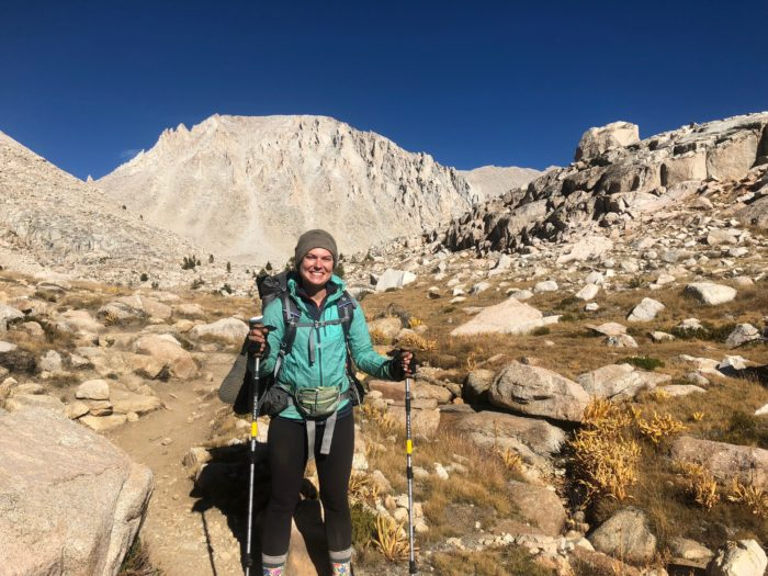 hiker in front of Mount Whitney