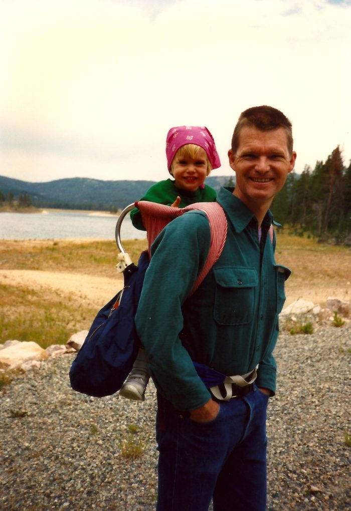 father and daughter hiking
