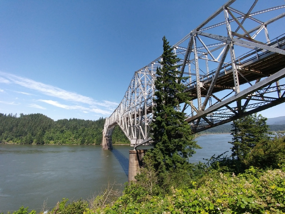 Steel framework bridge over wide river