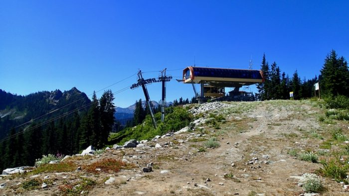 Ski lift at top of mountain