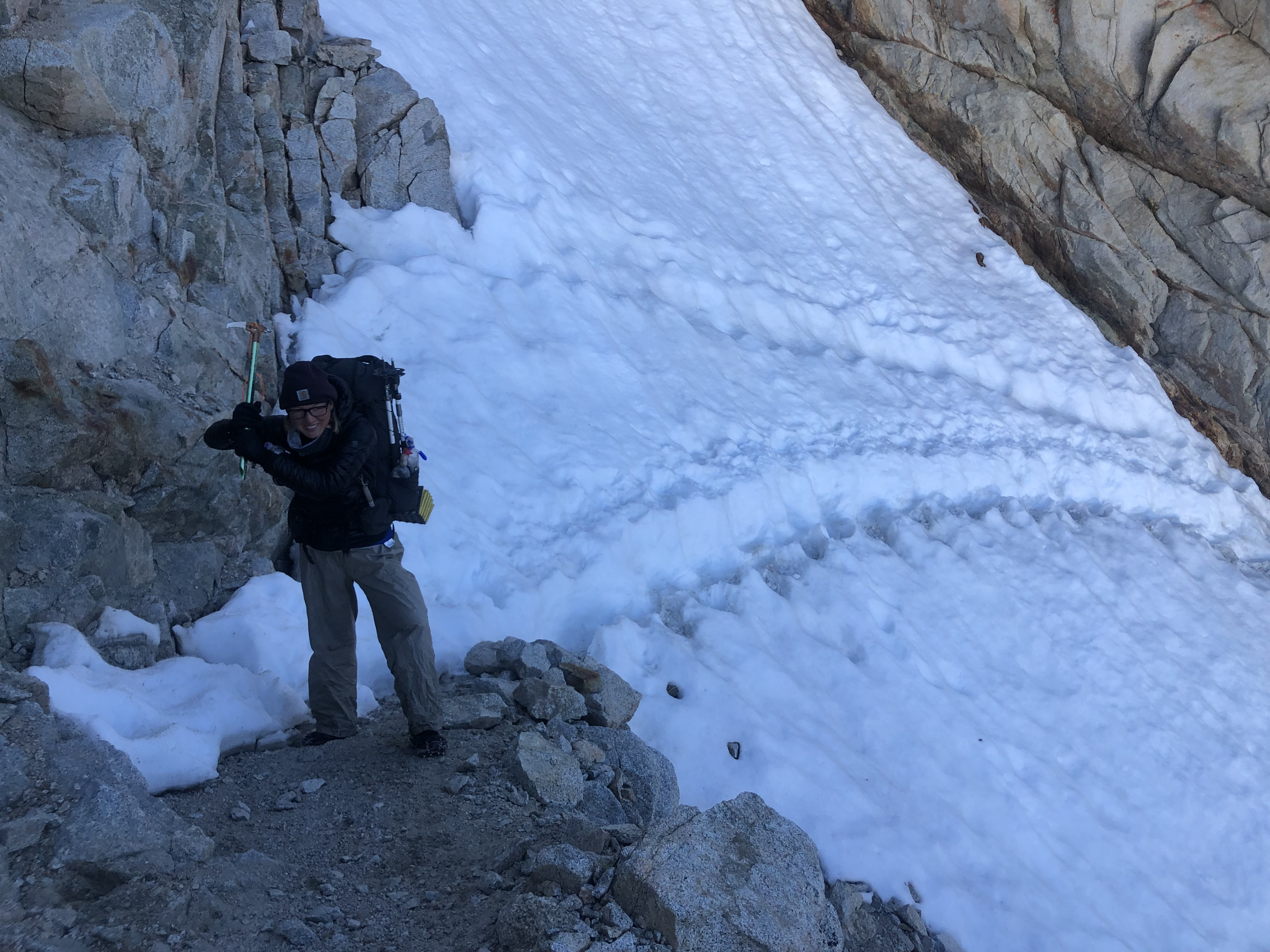 Snow chute on Forrester Pass