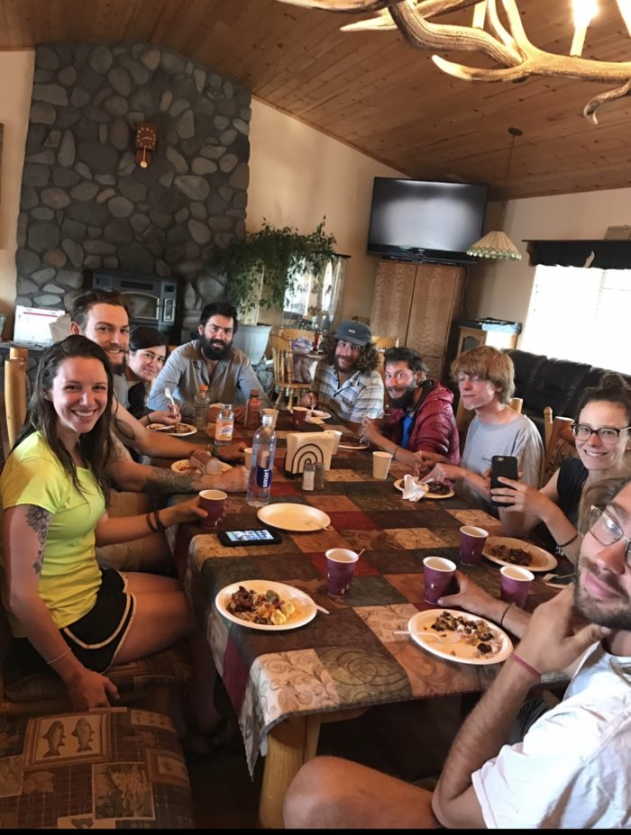 Hikers enjoying breakfast at Burney Mountain Guest Ranch in Northern California.