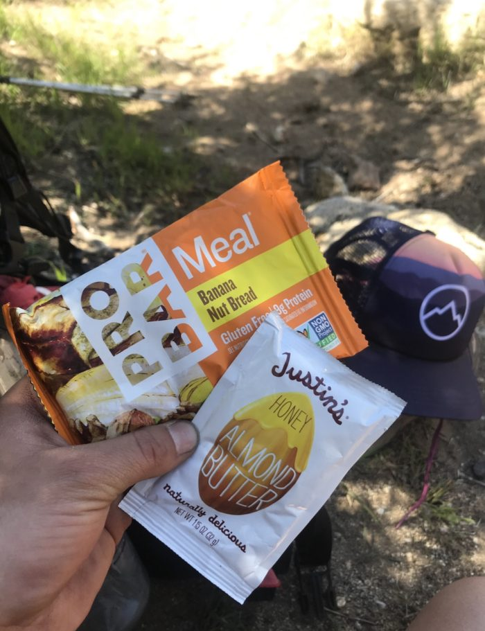 Midday snack for a hiker.