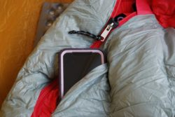 There is a storage pocket located on the outside of the NEMO RIff Sleeping bag.