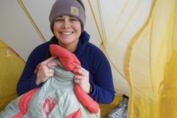 SoulShine bundles up in her NEMO RIff Women's 15-degree Sleeping Bag