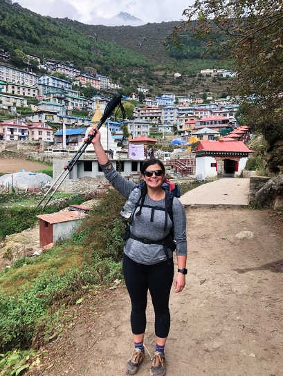 SoulShine hiked to Namche Baazar with her MSR Explore Backcountry Trekking Poles.