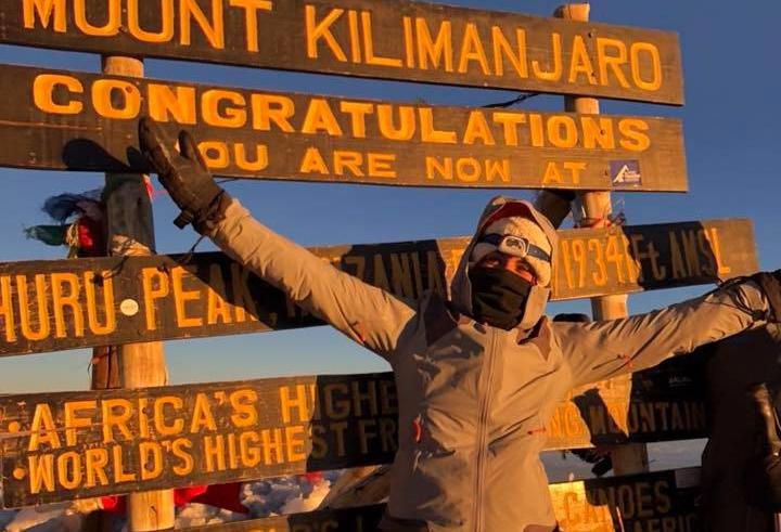 Sandra on top of Kilimanjaro