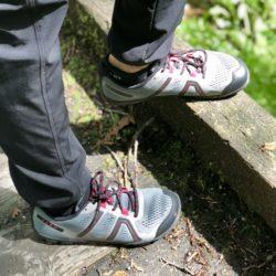 Xero Shoe Mesa Trail on a wooden bridge