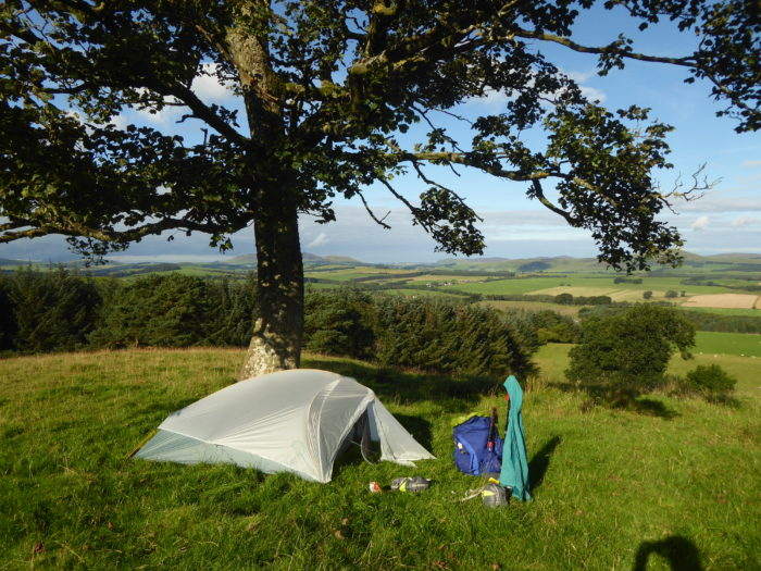 Camp overlooking the Pentlands