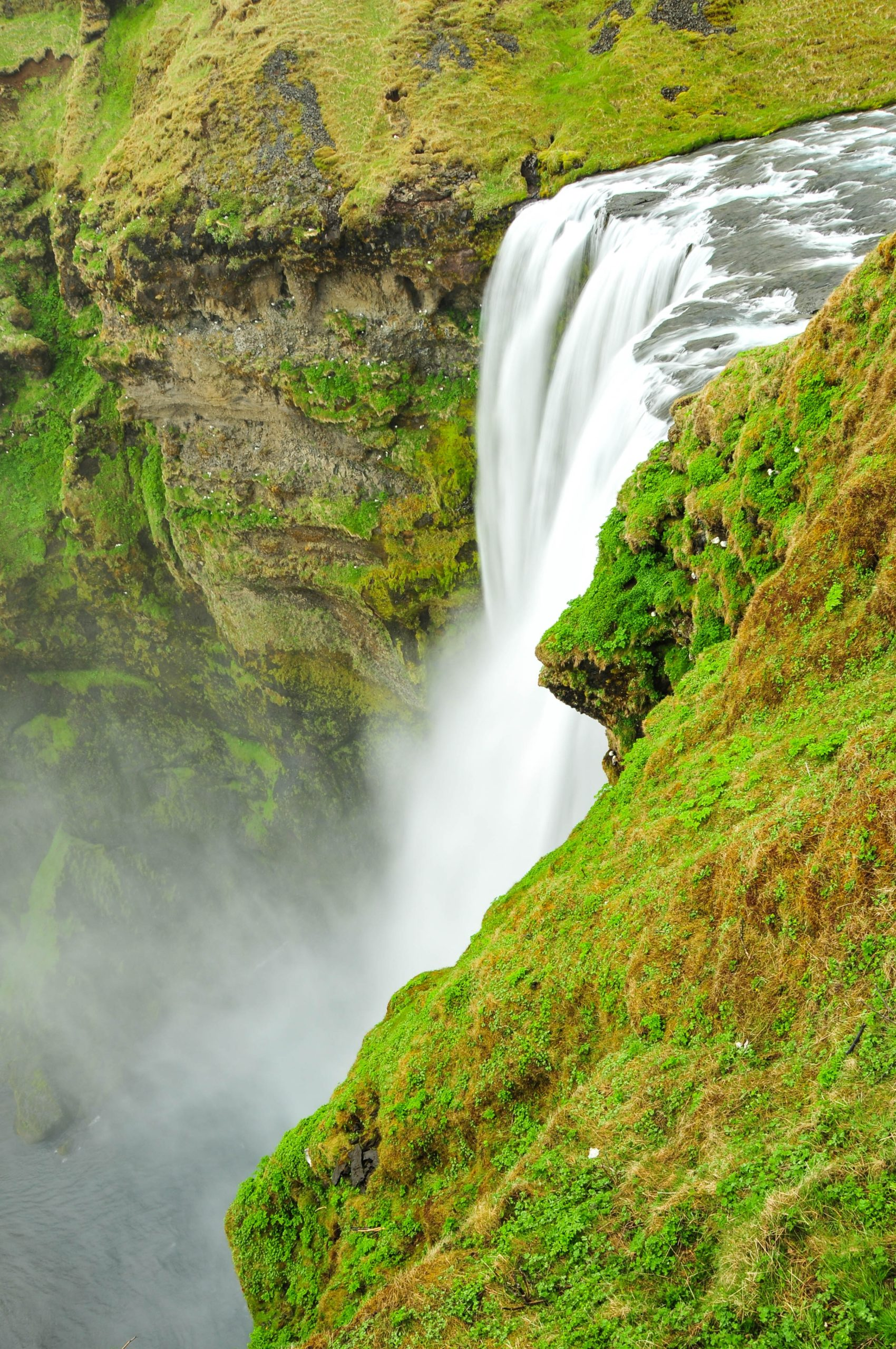 Skógafoss waterfall in southern Iceland from above