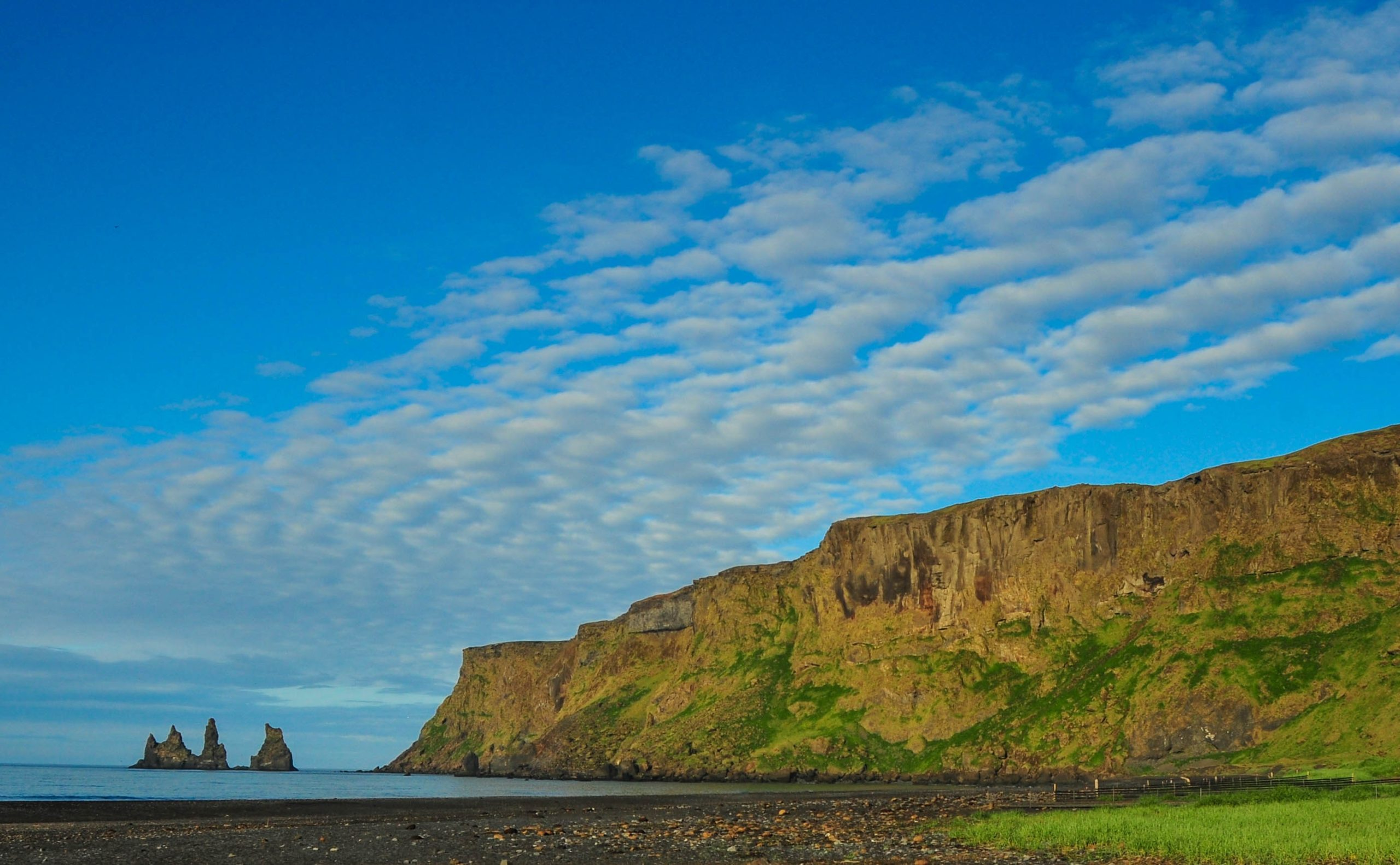 Black sand beach at Vík in southern Iceland