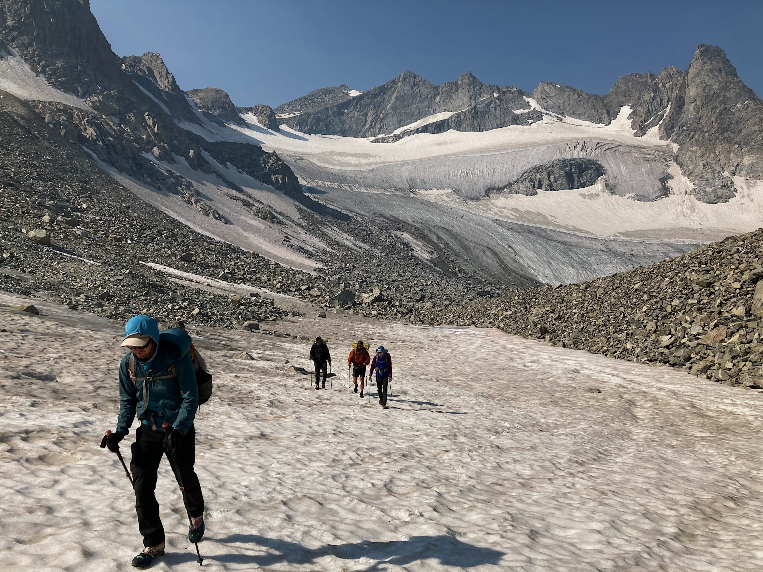 Number four top photo. Walking among glaciers on Wind River High Route.